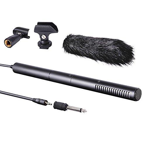 Movo VXR40 Micrófono de Cañón Supercardioide de Transmisión Condensador con Pantalla Contra el Viento, Montaje Tipo Jirafa y Soporte de Cámara