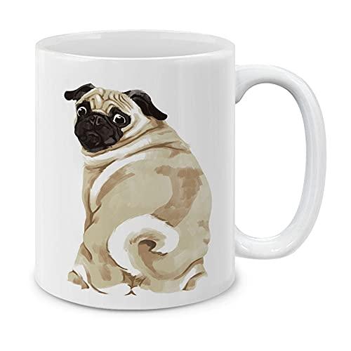 MUGBREW Sitting Back Turn Pug Dog Ceramic Coffee Mug Tea Cup, 11 OZ