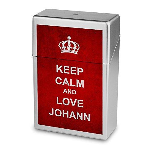 Zigarettenbox mit Namen Johann - Personalisierte Hülle mit Design Keep Calm - Zigarettenetui, Zigarettenschachtel, Kunststoffbox