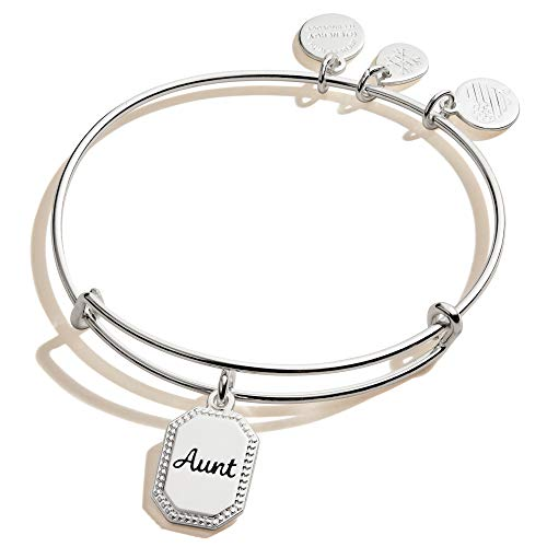 Alex and Ani Because I Love You Aunt Expandable Wire Bangle Bracelet for Women, Trusting Guide Charm, Shiny Antique Silver Finish, 2 to 3.5 in