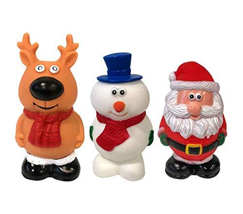Midlee Vinyl Christmas Dog Toy Set- Santa, Reindeer & Snowman