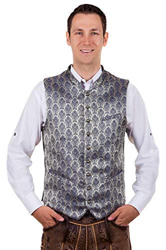 Elegant klederdrachtvest Gilet zilvergrijs-donkerblauw Mario met elegant patroon, maat 46-62