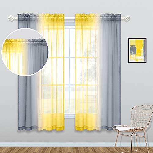 Yellow Sheer Curtains 63 Inch Length for Bedroom 2 Panel Sets Rod Pocket Ombre Sunflower Themed Yellow and Gray Curtains for Girls Room Dining Area 50x63 Inches Long Bright Yellow and Grey