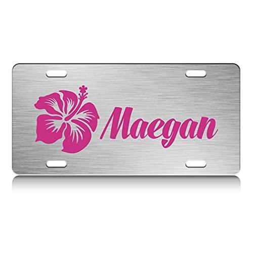 Press Fans - Maegan Female Name S.Steel Car SUV Truck License Plate Decorative Tag Chrome-D#y55