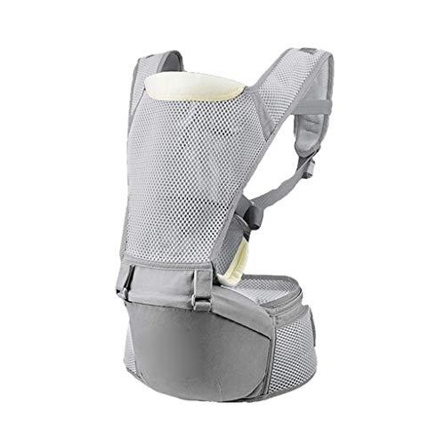 MMJS Babytrage, an der Vorderseite montierter, multifunktionaler Sommer-Atmungsaktiver Baby-Hüfthocker Sitz Babytragegurt,Grau