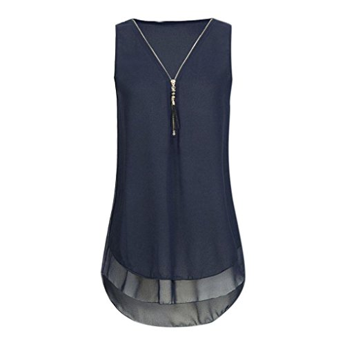 OverDose Damen Sommer Ärmellos T-Shirt Hemd Frauen Lose Tank Tops Kreuz zurück Saum Gelegt Reißverschluss V-Neck Tops(Y-Dark Blue,EU-40/CN-M)