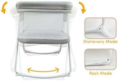 MiClassic All mesh 2in1 Stationary&Rock Bassinet One-Second Fold Travel Crib Portable Newborn Baby (Crystal)