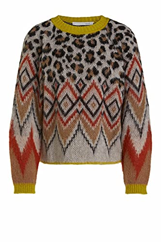 Oui Damen Pullover in Alpakamischung lässig geschnitten Sonstiges Muster Freizeit, Lounge