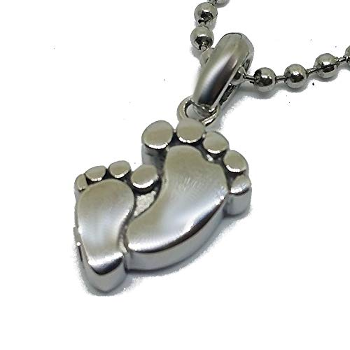 Cremation Jewelry for Ashes Baby Feet Footprint Silver Urn Necklaces Stainless Steel Pendant for Men and Women Dog Cat Funeral Day. Keepsake for Loved One
