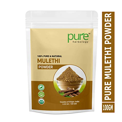 Pure Herbology Pure & Natural Mulethi Powder For Skin Whitening, Licorice Powder For Body, Skin and Hair, 100gm