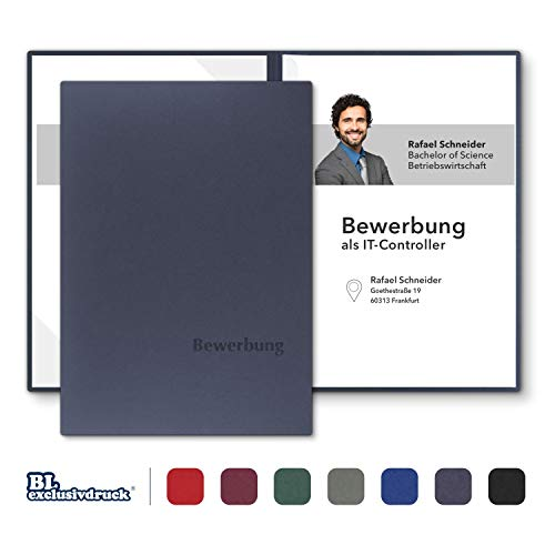 8 Stück zweiteilige Bewerbungsmappen BL-exclusivdruck® BL-plus in Marineblau - Premium-Qualität mit edler Relief-Prägung 'Bewerbung' - Produkt-Design von 'Mario Lemani'