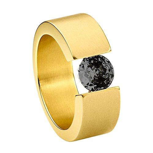 Heideman Ring Damen Turris aus Edelstahl Gold farbend matt Damenring für Frauen mit Swarovski Stein Zirkonia schwarz im Brillant Schliff 7mm