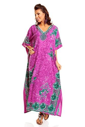 NEU Damen überdimensional Maxi Kimono Kaftan Tunika Kaftan Kleid gratis, Lila, Gr. 38-44 (Etikett: 27 inch)