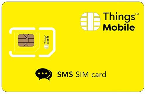 SIM-Karte für SMS - Things Mobile - mit weltweiter Netzabdeckung und Mehrfachanbieternetz GSM/2G/3G/4G. Ohne Fixkosten und ohne Verfallsdatum. 10 € Guthaben inklusive