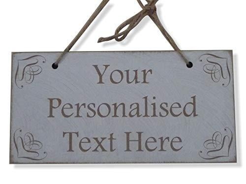 Tu texto personalizado cartel de madera placa shabby chic con texto personalizado regalo