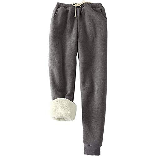 Pantalon de survêtement d'hiver en velours pour femme - Décontracté et chaud - Avec cordon de serrage - Gris - M