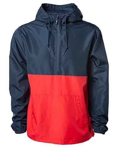 Global Blank Slim Fit Half Zip Up Pull-Over Hooded Windbreaker Jacket Men Women Navy/Red