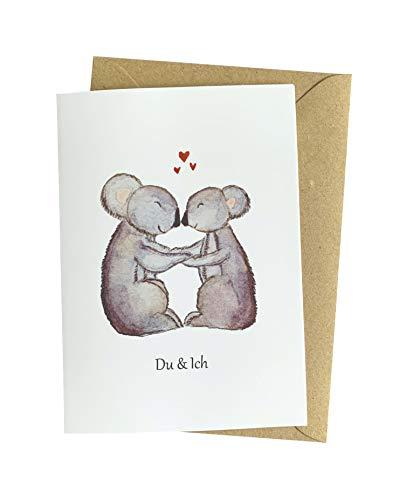 Herzfunkeln® Karte für Freundin, Freund, Frau & Mann mit verliebten Koalas in DIN A6 - Du & Ich - Umschlag aus Recyclingpapier - Liebes Grußkarte zum Jahrestag, Valentinstag & Hochzeitstag