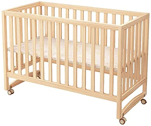 ZGYZ Cama portátil de Madera para Cuna para bebés,se Convierte de Cuna en Cama para niños,Cama de día,Base de Madera de Pino Maciza Ajustable en 3 Posiciones,riel de dentición