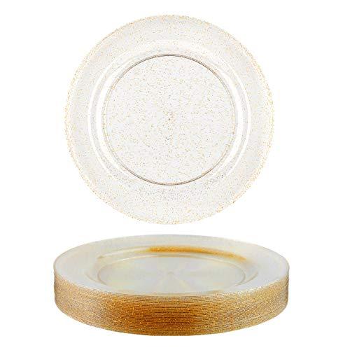 25 Platos Transparentes de Plástico Duro con Brillos Dorados, 26cm - Elegante, Resistente y Reutilizable.