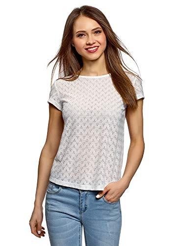 oodji Ultra Mujer Camiseta de Tejido Texturizado con Decoración Étnica, Blanco, ES 38 / S