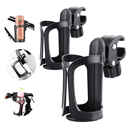OVAREO Bicycle Bottle Holder, 2 Pack Bicycle Bottle Holder, 360 Degree Rotation Drink Water Cup Holder Quick Release for Bicycles, Mountain Bikes, Pushchairs and Wheelchair