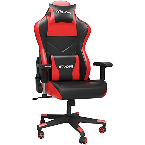 YITAHOME Gaming Chair Massage Computer Chair PU Leather Ergonomic High Back Swivel Desk Chair with Massage Lumbar Support Adjustable Headrest Big and Tall Gamer Chair