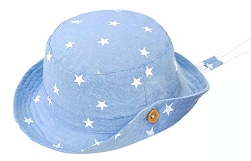 Gemvie Hut Bob Baby Kinder Unisex Cowboyhut aus Baumwolle Fischerhut Faltbarer Sonnenhut UV-Schutz für Sommer Strand Reise Gr. 1-2 Jahre, hellblau
