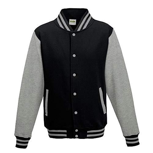 Just Hoods - Girlie College Jacke 'Varsity Jacket' / Jet Black/Heather Grey, XS