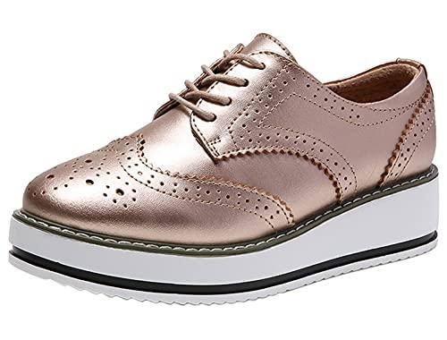 Dadawen - Zapatos de ciudad con cordones para mujer, piel, Dorado (dorado), 40 EU