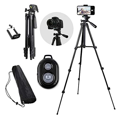Yizhi Adjustable Tripod Aluminum Lightweight Tripod Camera Travel with Holder Mount and Bluetooth Wireless Remote Shutter Stand