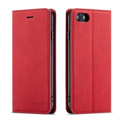QLTYPRI Hülle für iPhone 7 iPhone 8 iPhone SE 2020, Premium Dünne Ledertasche Handyhülle mit Kartenfach Ständer Flip Schutzhülle Kompatibel mit iPhone 7 iPhone 8 iPhone SE 2020 - Rot
