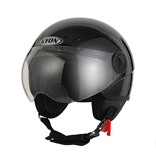 WeeLion Offener Motorradhelm und HD-Brille schwarz, Jethelm Street Cruiser Helikopter Roller ECE geprüft,Brightblack,L