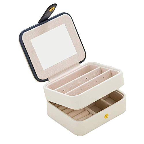 Manyao Travel Jewelry Organizer Box Portable Case Accessories Holder Pouch Built-In Mirror with Environmental Faux Leather for Earring,Lipstick,Necklace,Bracelet,Rings (Square-White)