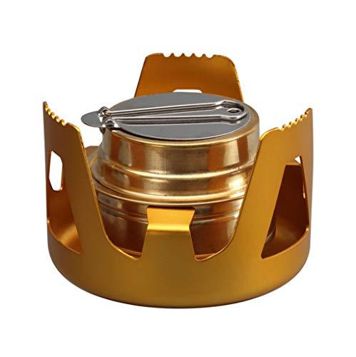 TOHOYOK Mini Estufa de Alcohol, Mini portátil hornilla del Alcohol, Estufa al Aire Libre, Utilizado for Camping, excursiones, Comida campestre, Fiesta (Color : Gold)