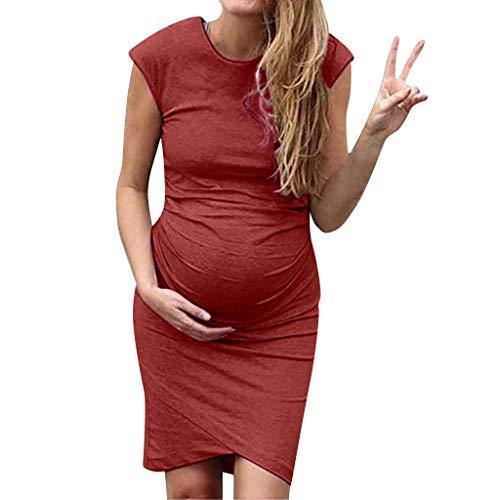 Marciay Vestidos Supersu Señoras Verano Madre Vestido De Maternidad Color Sólido Cuello Redondo Sin Mangas Vestidos Cruzados Cómodo Vestido De Embarazo Vestido Casual Vestido Aju