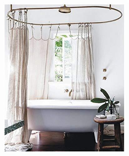 JASSXIN Natürliche Leinen Duschvorhang, Leinengewebe Duschvorhang, Spa, Hotel Luxus, Heavy Duty, Dekorative Duschvorhänge,240 * 200 cm