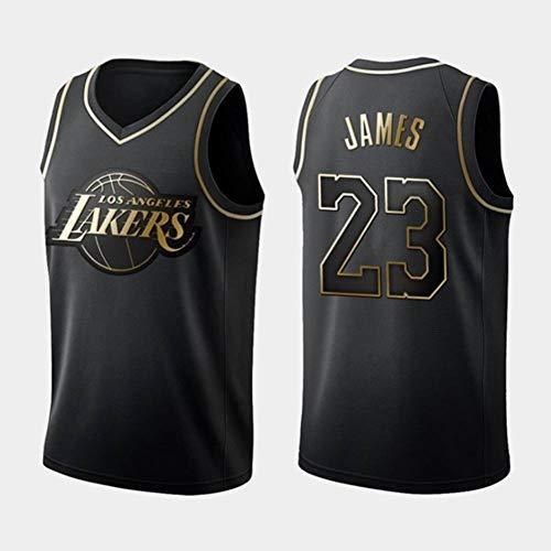Camiseta de Baloncesto, Lebron James NO.23 Lakers Retro Camiseta de Jugador de Básquetbol, no es FáCil de Deformar, Adecuados para La Aptitud, Correr, Entrenar, Baloncesto, Oro Negro