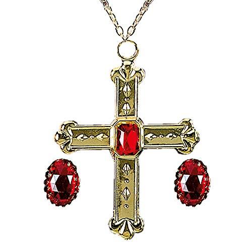 Widmann 3076C kardinaalset, halsketting met kruis en 2 ringen, goud/rood, heren: één maat