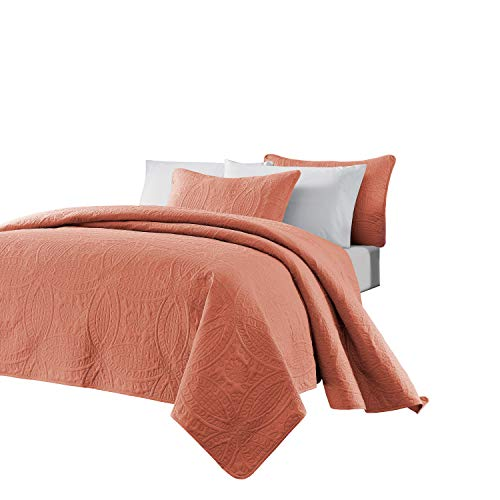 Chezmoi Collection Austin 3-piece Oversized Bedspread Coverlet Set (Queen, Salmon)