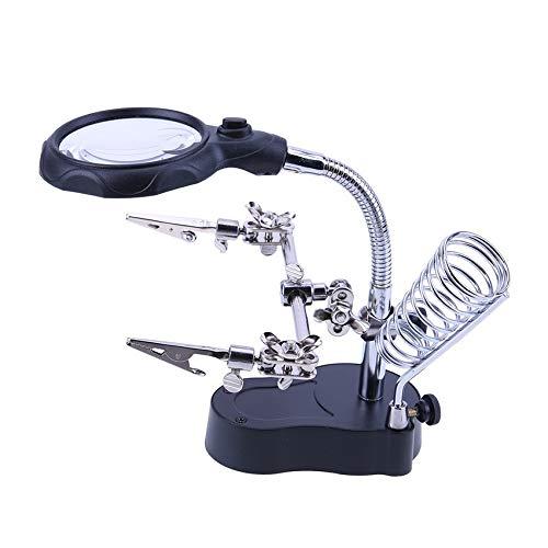 QINGJIA LED de luz de Aumento 3X 4.5X Soldadura Lente Auxiliar interpuesta Lupa de Aumento Soldadura Tercera Mano Herramienta de reparación de Escritorio Lectura/Obeservación/Reparación
