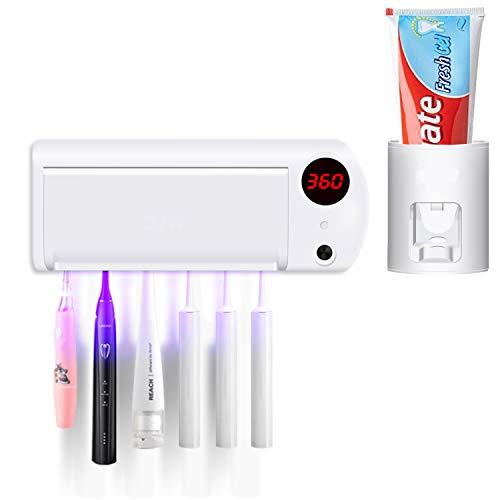 Portaspazzolino UV, USB Ricaricabile, Dispenser Automatico di Dentifricio Montato a Parete con 6 Spazzolini da Denti per Bagno Famiglia di Bagni