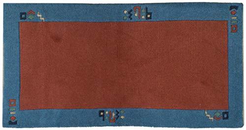 Teppich Brücke Tibeter ca. 75 x 140 cm Rot handgeknüpft Schurwolle Modern hochwertiger Teppich