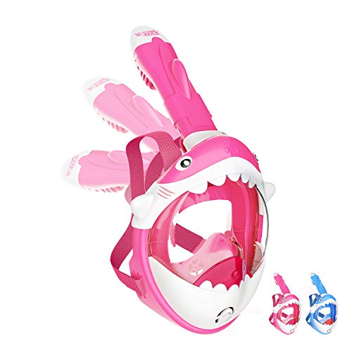 WOTEK Childrens Snorkeling Mask Full Face-180° HD View Snorkel Mask with Shark Design and Detachable Camera Mount, Children Snorkel Set with Anti-Fog and Anti-Leak design for 4-10 years Children