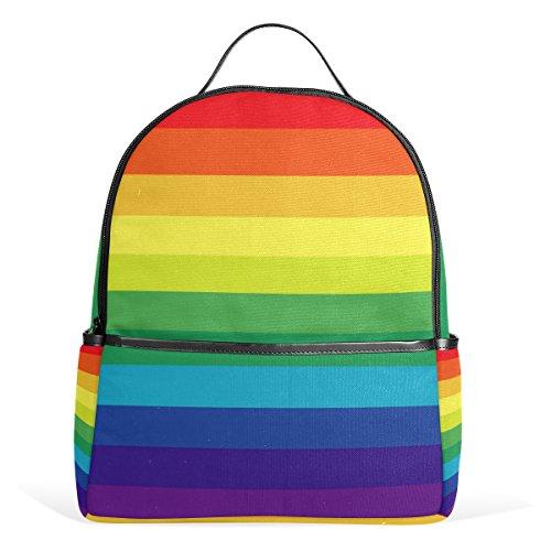 ALAZA Lustige Regenbogen-Streifen-Rucksack-Schule Bookbag Gelegenheits Daypack