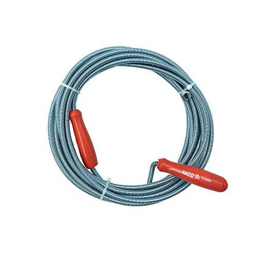 Sonda de limpieza de desagües profesional YATO 5M x 9mm - Herramienta hidráulica flexible para fontanería de fregaderos y desagües.