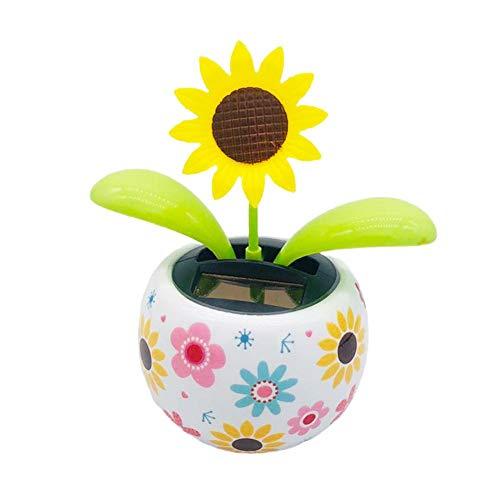 Morningtime Solar Wackelfigur KFZ Solarbetriebene Tanzende Blume Wackelblume Smiley Blume Dekoration Solarblume für Auto Haus und Büro