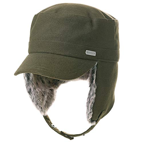 Fancet Womens Earflap Army Cap Military Winter Hunting Trapper Cold Weather Hat for Men Baseball Cadet Combat Green 56-58cm