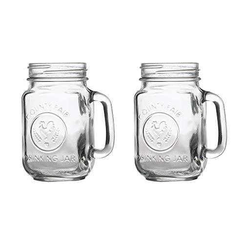 County Fair Mason Jar Drinking Glasses with Handles - Set of 2