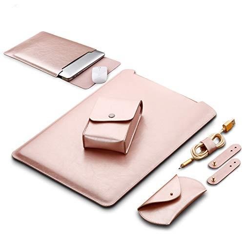 GENORTH® Weiche Hülle Leder Tasche für MacBook Air undMacBook Pro 13.3 Wasserdicht mit Schutz Tasche für Maus & Netzteil (13 Zoll, Rose Gold)